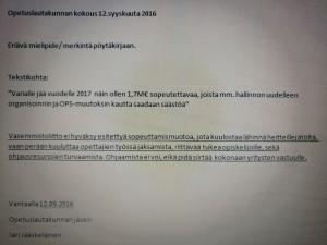 Eriävämielipide/ merkintä pöytäkirjaan.
